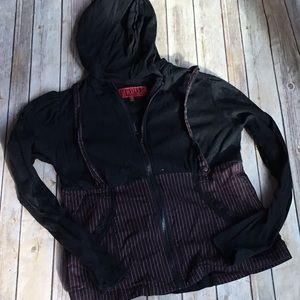 Tripp NYC Black with Red Stipe Suspenders Hoodie